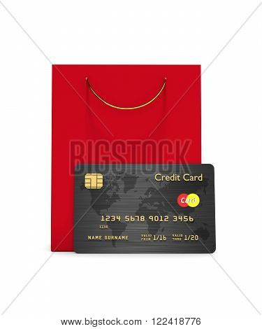 Credit Card With Shopping Bag Isolated Over White