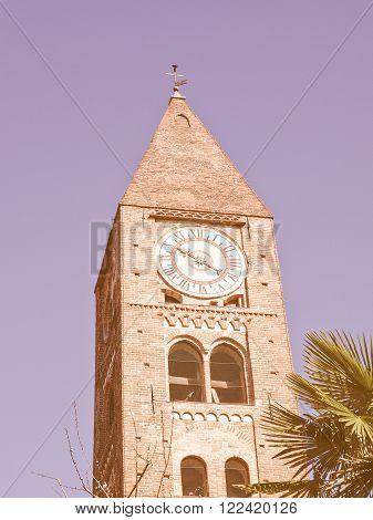 Steeple of the church of Santa Maria della Stella Rivoli Italy vintage poster