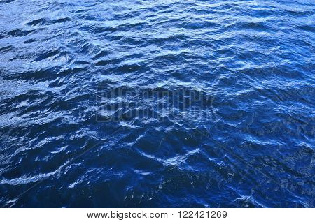 The structure of the river water. The ripples from the wind on the surface of the river.