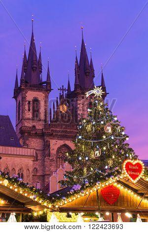 Xmass markets in Prague Oldtown Square Czech Republic illuminated
