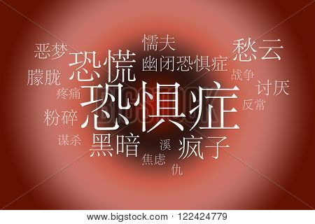 Association to the word Fobia Chinese . White letters on a red background