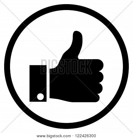 Thumb Up vector icon. Picture style is flat thumb up rounded icon drawn with black color on a white background.