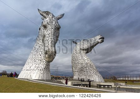 FALKIRK, UNITED KINGDOM - MARCH 12: the Kelpies sculptures on March 12, 2016 in Falkirk, United Kingdom. The Kelpies are the World's largest equine sculptures