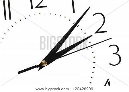 clock face isolated on white background - time concept. The time on the clock 14-06