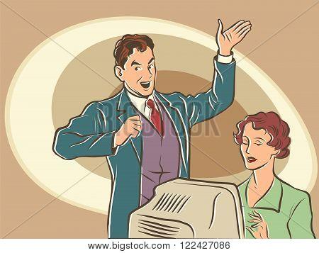 Retro businessman Secretary dictates the text pop art line art comic retro. The writer works