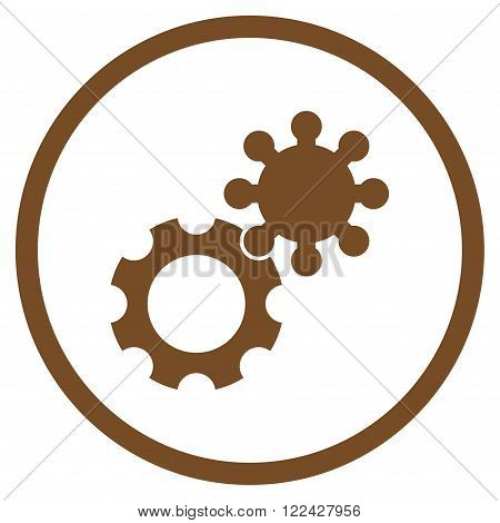 Config vector icon. Picture style is flat gears rounded icon drawn with brown color on a white background.