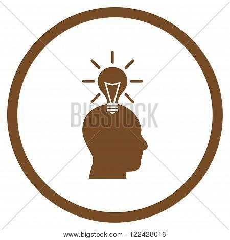 Genius Bulb vector icon. Picture style is flat genius bulb rounded icon drawn with brown color on a white background.