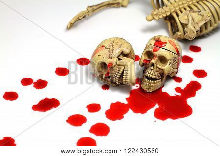 This is photo make Skull and blood.