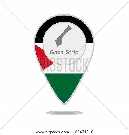 A pointer with map and flag of Gaza Strip