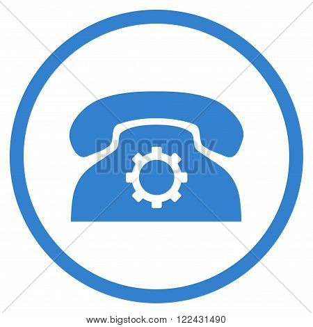 Telephone Preferences vector icon. Picture style is flat phone settings rounded icon drawn with cobalt color on a white background.