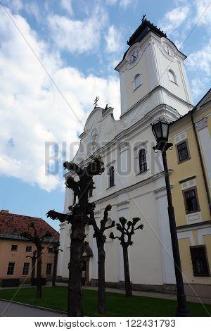 Levoca PRESOV SLOVAKIA -MAY 01 2014: Old church on the central square in Levoca Slovakia.