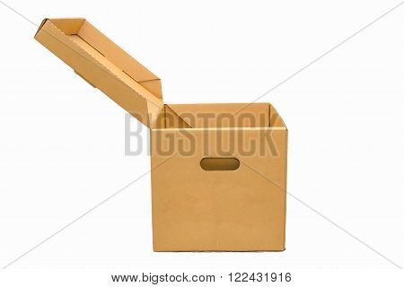 isolate of Cardboard empty box open top case