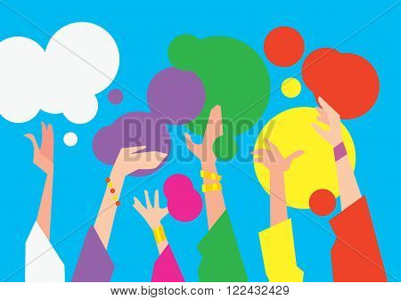 Holi festival, raster illustration. The traditional Indian festival. Bengali New Year. Holiday of spring and nature.