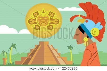 Pyramid Maya, chief of the tribe Maya. Raster illustration Mayan.