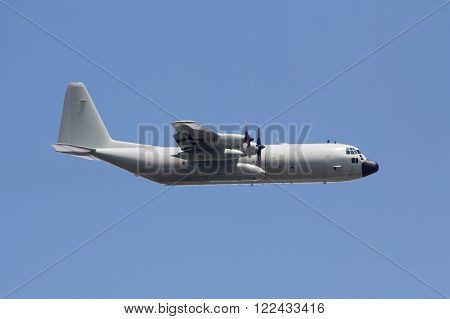 C-130H-30 : The military carrier airplane flying on the sky