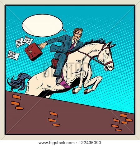 Businessman horseman on horse jumps over barrier pop art style retro. The business concept. Business success