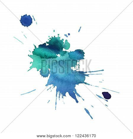 expressive watercolor spot blotch with splashes blue color. Banner for text, grunge element for decoration