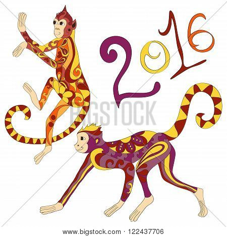 Vector decorated Indian Monkies. Hand drawn illustration