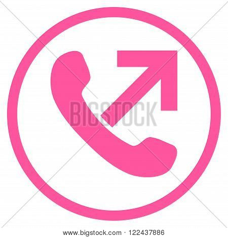 Outgoing Call vector icon. Picture style is flat outgoing call rounded icon drawn with pink color on a white background.