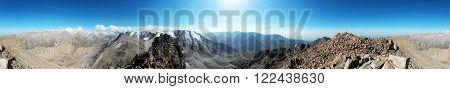 Mountain view. Pano from  top of the Tourist's Peak (3954 m), Almaty, Kazakhstan