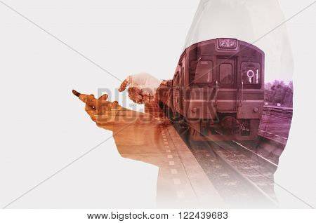 Double exposure of Business Man use Mobiel Phone with Train Station for use as Background in Modern Transportation concept