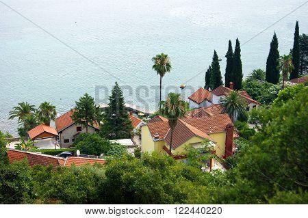 Houses near the Adriatic Sea in Montenegro