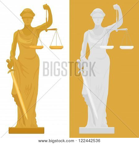 Vector illustration of Themis Femida statue in two color styles
