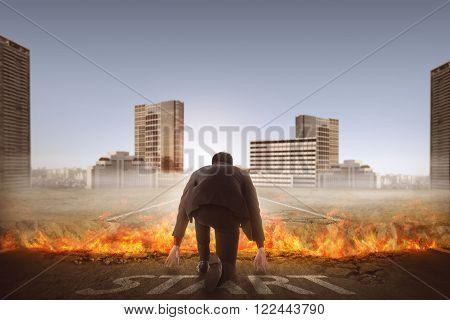 Back View Of Man Start Running Through Broken Road