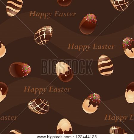 Happy Easter- Ferrous and White Chocolate eggs seamless pattern