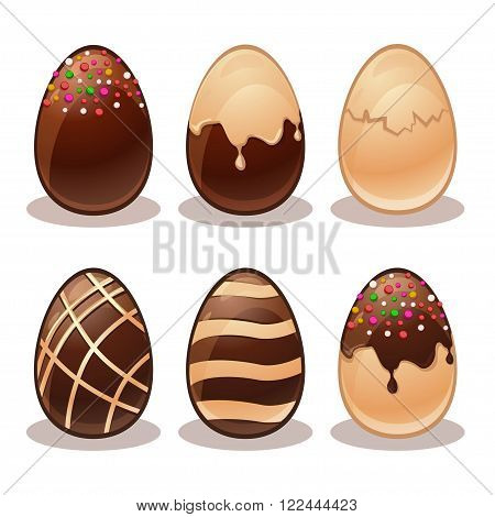 Happy Easter- Ferrous and White Chocolate eggs in vector