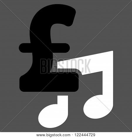 Music Pound Price vector icon. Music Pound Price icon symbol. Music Pound Price icon image. Music Pound Price icon picture. Music Pound Price pictogram. Flat music pound price icon.