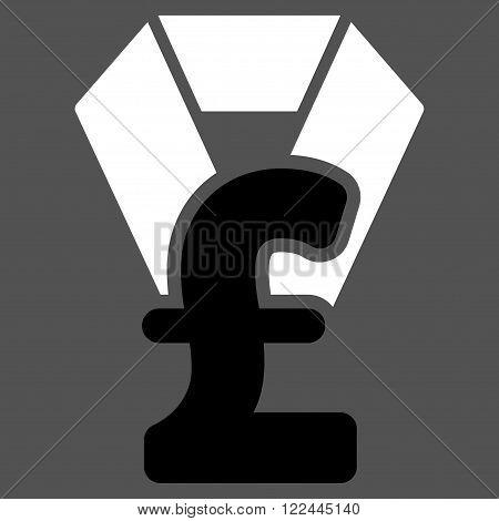 Pound Award vector icon. Pound Award icon symbol. Pound Award icon image. Pound Award icon picture. Pound Award pictogram. Flat pound award icon. Isolated pound award icon graphic.