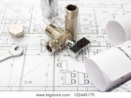 Architecture plan with mixer tap and turn-screw. Building concept