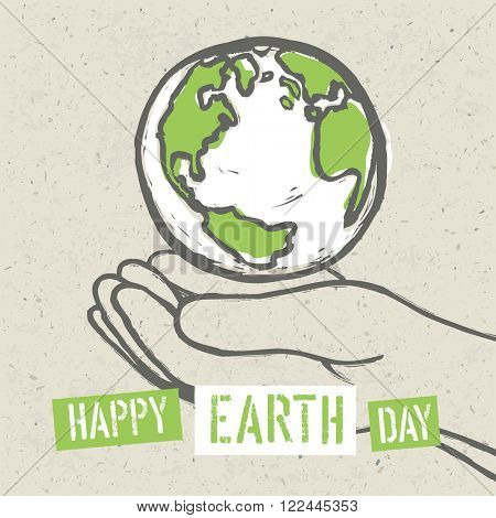Happy Earth Day Poster. Symbolic Earth in hands on the recycled paper texture. 22 April