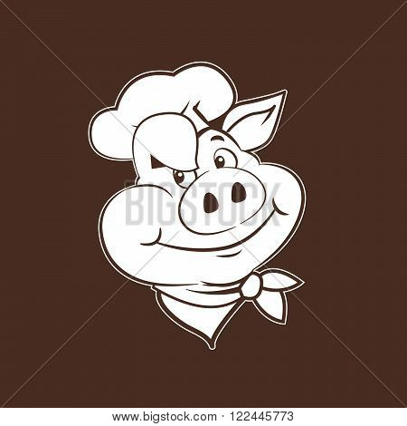 Happy Pig Chef Head. Cartoon Vector Illustration. Pig Chef Hat. Pig Chef Toy. Pig Chef Tattoo. Pig Chef Game And Pig Costume. Chef Pig. Pig Chef Deco. Pig Chef Logo.