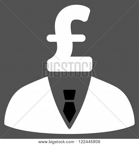 Pound Businessman vector icon. Pound Businessman icon symbol. Pound Businessman icon image. Pound Businessman icon picture. Pound Businessman pictogram. Flat pound businessman icon.