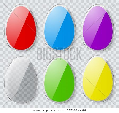 Set Of Colorful Easter Eggs With Transparent Edges. Flat Design