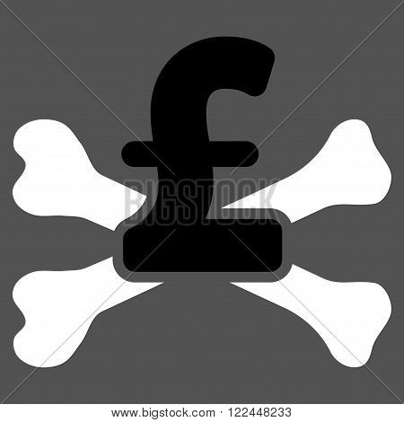 Pound Mortal Debt vector icon. Pound Mortal Debt icon symbol. Pound Mortal Debt icon image. Pound Mortal Debt icon picture. Pound Mortal Debt pictogram. Flat pound mortal debt icon.
