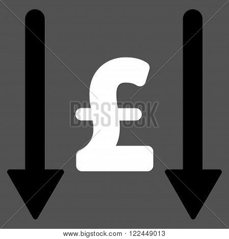 Receive Pound vector icon. Receive Pound icon symbol. Receive Pound icon image. Receive Pound icon picture. Receive Pound pictogram. Flat receive pound icon. Isolated receive pound icon graphic.