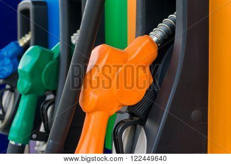Close Up Of Colourful Fuel Pumps