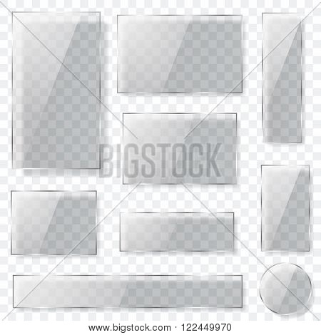 Transparent Glass Plates In Gray Colors. Transparency Only In Vector Format