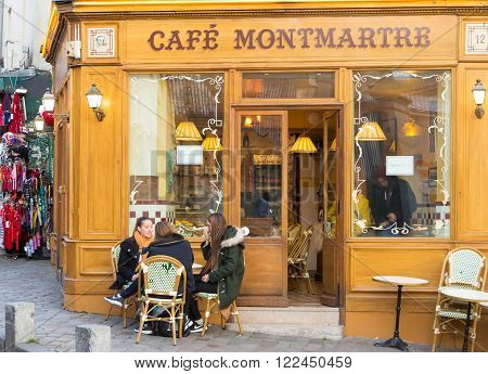 Paris France-March 17 2016 : The traditional French cafe Montmartre located in the Mantmartre quarter at 9 rue Norvins in Paris France.
