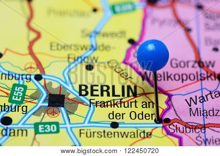 Photo of pinned Frankfurt an der Oder on a map of Germany. May be used as illustration for traveling theme. poster