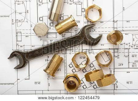 Architecture plan with plunger pins and turn-screws. Building concept