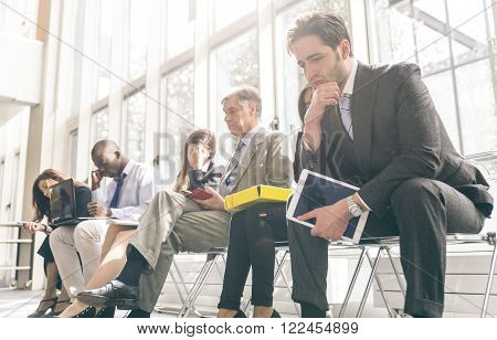 Business people waiting for a job interview