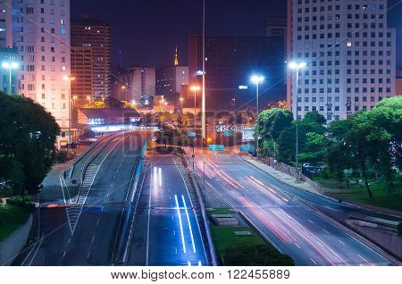 Lights's city in downtown Sao Paulo Brazil