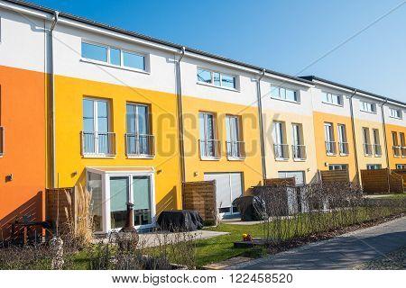 Colorful terraced housing seen in Berlin, Germany