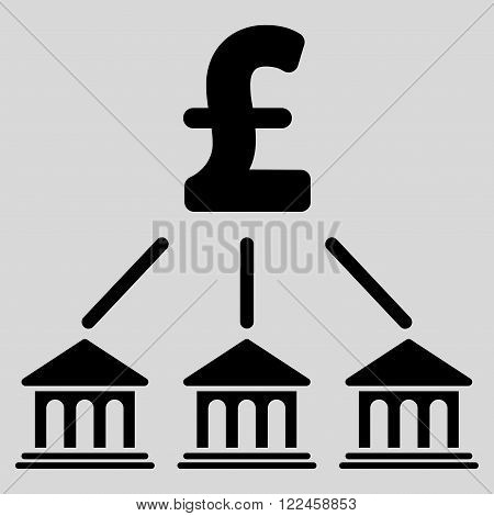 Pound Bank Organization vector icon. Pound Bank Organization icon symbol. Pound Bank Organization icon image. Pound Bank Organization icon picture. Pound Bank Organization pictogram.