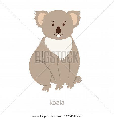 Koala bear. Cartoon character. Australian endemic. Zoo illustration. The fauna of the Australian continent. Wild animal. Cute koala. Symbol of country. Flat fanny bear