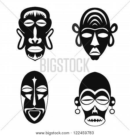 Set of African Ethnic Tribal masks on white background. Flat icons. Ritual symbols.